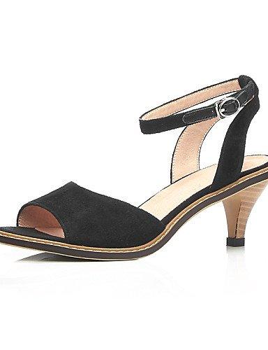 LFNLYX Zapatos de mujer-Tacón Cono-Punta Abierta / Talón Descubierto / D'Orsay y Dos Piezas-Sandalias-Oficina y Trabajo / Vestido / Casual-Ante- Yellow
