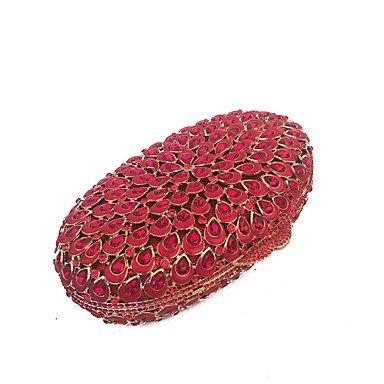 KYS Bolsos de embrague de la tarde de la manera hecha a mano de las mujeres en rojo Red