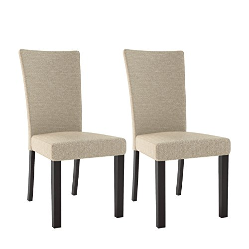 Cheap CorLiving DRC-875-C Bistro Woven Cream Dining Chairs, Set of 2, Cappuccino, Woven Cream