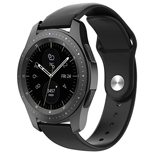 UMTELE Sport Bands Compatible with Galaxy Watch 42mm Band, Soft Silicone Breathable Sport Strap Replacement Wristband for Samsung Galaxy Watch Black