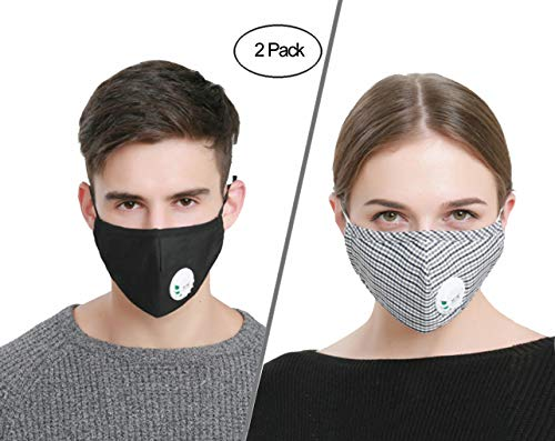DS-Space Anti Pollution Mask with Adjustable Straps, Reusable Anti PM 2.5 Pollen Dust Mask, Anti-fog Anti Dust Mask Antibacterial with Activated Carbon Filter Earloop Mouth Mask (2 Masks + 4 Filters)