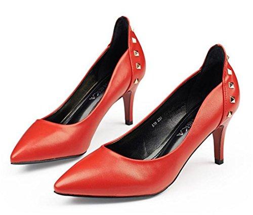Women Spring Stiletto Heel Shoe Pointed Toe Rivet Black/Red/Beige Pump Shoes Red qKHi6f