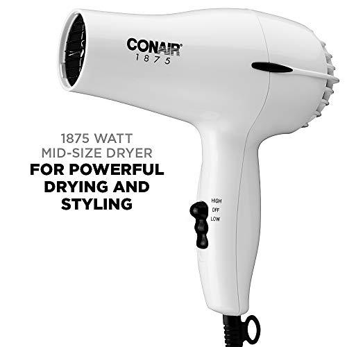 Conair 1875 Watt Mid-Size Styler Hair Dryer, White