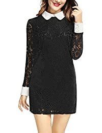 Allegra K Women's Contrast Collar See Through Sleeves Lace Mini Shift Dress
