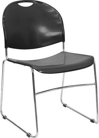 Textured Polypropylene Stacking Chairs - Flash Furniture HERCULES Series 880 lb. Capacity Black Ultra Compact Stack Chair with Chrome Frame