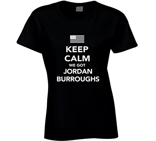 Jordan Burroughs Keep Calm USa 2016 Olympics Wrestling Ladies T Shirt 2XL Black by Mad Bro Tees