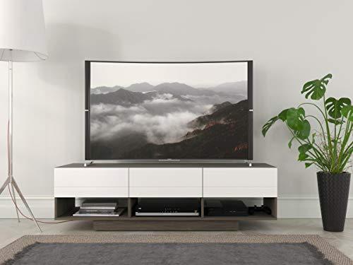 Nexera 105148 Rustik, Bark Grey and White 60-inch TV Stand,