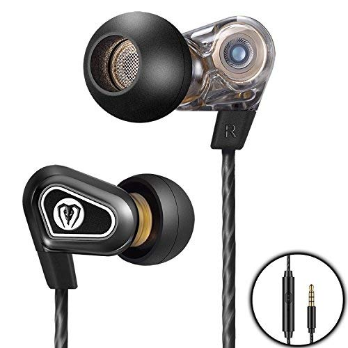 Earphones, in Ear Headphones Earbuds with Microphone, Dual Driver Wired Ear Buds HiFi Audio, Noise Cancelling Earphone with Deep Bass Stylish Designs - Black