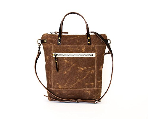 Earth Brown Small Waxed Canvas Crossbody Handbag with Leather Strap and Solid Brass Hardware by Thread & Canvas Co.