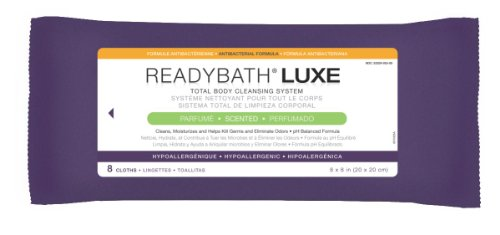 ReadyBath Premium WASHCLOTHS, ANTIBACTERIAL FORMULA, 8PK (Disposable Hospital Washcloths)