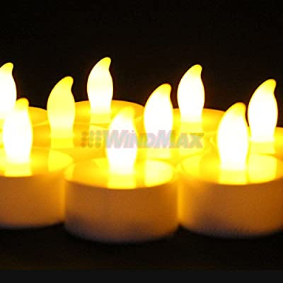 WindMax® USPS Shipping from CA, USA. 10pcs Yellow Color Flameless Wedding Tea Light Tealight Christmas Party Deco LED Candle Candles Remote Control RC