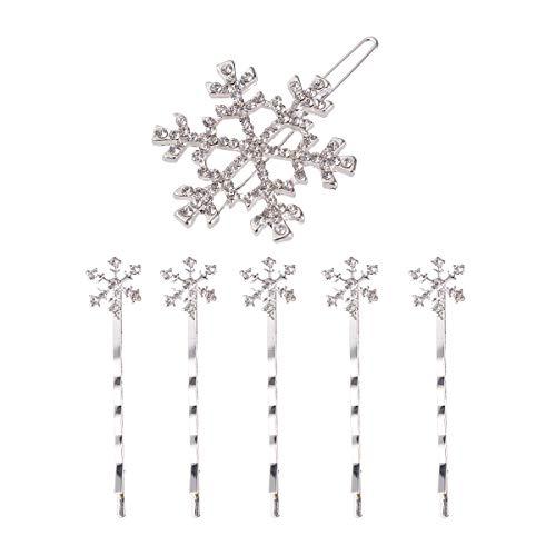 Lurrose 6pcs White Rhinestone Snowflake Hair Clip Decorative Metal Bobo Hair Pins (Metal Snowflakes White)