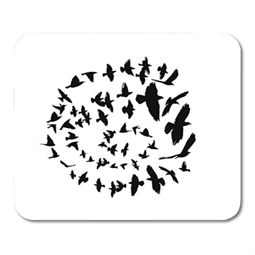 Flock Circles - Semtomn Gaming Mouse Pad Flock Bird Silhouette in Circle Flying Freedom Spiral Animals 9.5