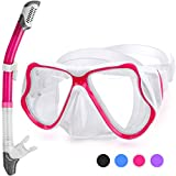 Greatever 2019 Newest Dry Snorkel Set,Panoramic Wide View,Anti-Fog Scuba Diving Mask,Easy Breathing and Professional Snorkeling Gear