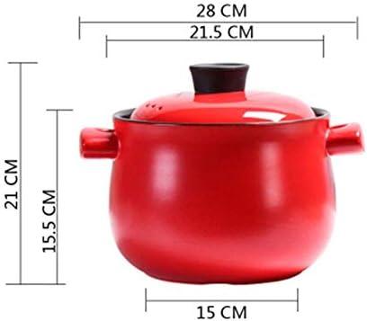 XIAOWEI Casserole en céramique avec Couvercle d'entonnoir en grès pour Tous Les Types de plaques de Cuisson 11 Pouces Base 1,6 litres Section Haute Rouge 4L