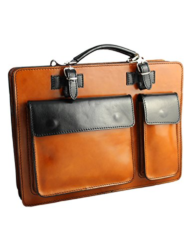 Tan Black Cowhide Made In Italy And Leather Document Unisex Briefcase Hand Crafted With Tablet Classic Style Strap Giglio Vacchetta Italian pwHZTq