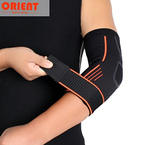 Price comparison product image Boofab Elbow Brace Pads Sports Protector Breathable Stretchy Crashproof Compression Football Volleyball Cycling Biking Climbing Tennis Dance Arm Cover Elbow Support Guard (M)