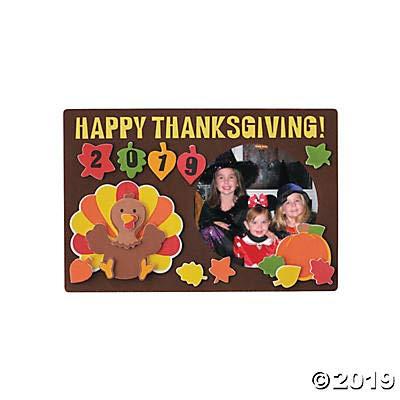 Fun Express 2019 Thanksgiving Picture Frame Craft Kit (Makes 12) (Turkey Picture Frame)