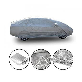 LeaningTech M/L/XXL Size Breathable Universal Fit UV Outdoor Full Car Auto Cover Silver