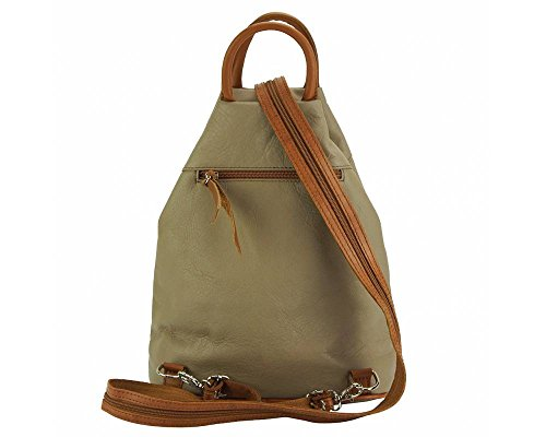 Florence Leather 206 - Bolso mochila  para mujer negro, Dark Green & Brown (Multicolor) - 206 Light Taupe & Tan