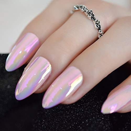 CoolNail Metallic Mirror Bright Pink False Stilettos Nail