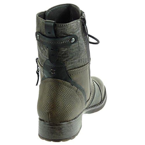 Angkorly - damen Schuhe Stiefeletten - Combat Boots - Reitstiefel Kavalier - Spitze - Schlangenhaut - metallisch Blockabsatz 3 CM Khaki