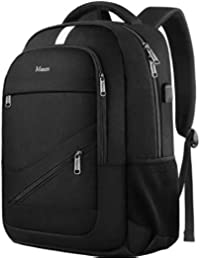 Laptop Backpack, Travel Laptop Backpack Anti-Theft College School Computer Bag w/USB Charging Port, Durable Student Bookbag for Men Women, RFID Business Lightweight Daypack Fit 15.6 In Notebook, Black
