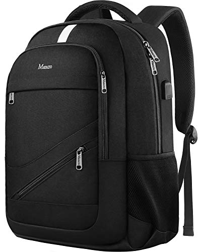 College Laptop Backpack, Mancro Durable School Bookbags for Men Women with USB Charging Port, Business Travel Anti Theft RFID Water Resistant Tech Backpack Fits 15.6 Inch Laptop and Notebook, Black