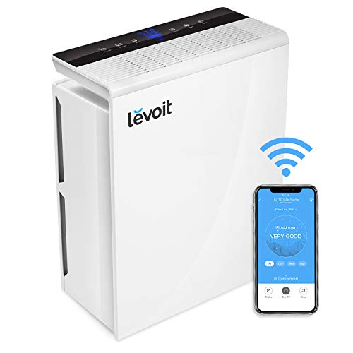LEVOIT Smart WiFi Air Purifier for Home Large Room with True HEPA Filter,Air Cleaner for Allergies and Pets,Smokers,Mold,Pollen,Dust,Odor Eliminators for Bedroom,Energy Star,Work with - Smoke Control Purifier Air