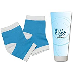 Remedy Health Silky Sox, Night-Time Foot Repair Moisture Cream and Gel-Lined Healing Socks/Foot Sleeves for Calluses, Cracked Heels and Damaged Skin, Blue