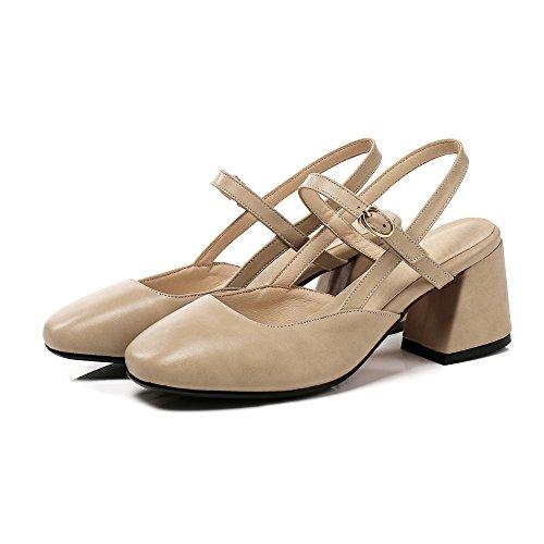 VIVIOO Tacón Alto Mujeres Bombas Simple Hebilla PU Zapatos De Verano Zapatos Grandes De Moda Casual Cómodos Zapatos De Tacón Alto Khaki