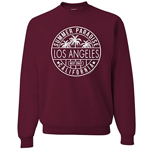 Los Angeles California West Coast Crewneck Sweatshirt - Maroon Medium