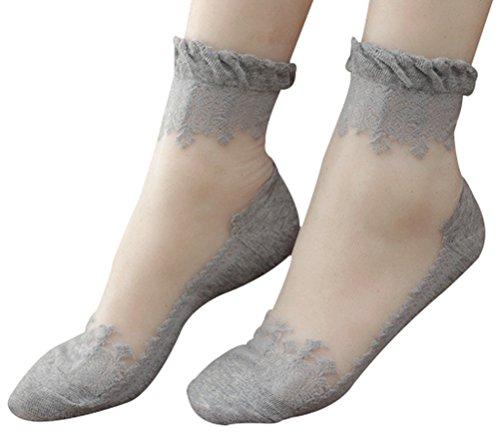 Lovful 3 Pairs Women's Ultrathin Transparent Lace Elastic Short Socks,Gray