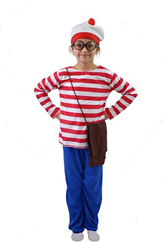 World Book day-Fancy Dress- WHERE IS WALLIE COSTUME- All Children's Sizes Available (AGE 7-8)