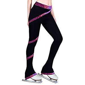 Figure Skating Spiral Polartec Polar Fleece Pants Hologram Foil Fuchsia