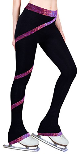 Figure Skating Spiral Polartec Polar Fleece Pants - Hologram Foil Fuchsia (Child -