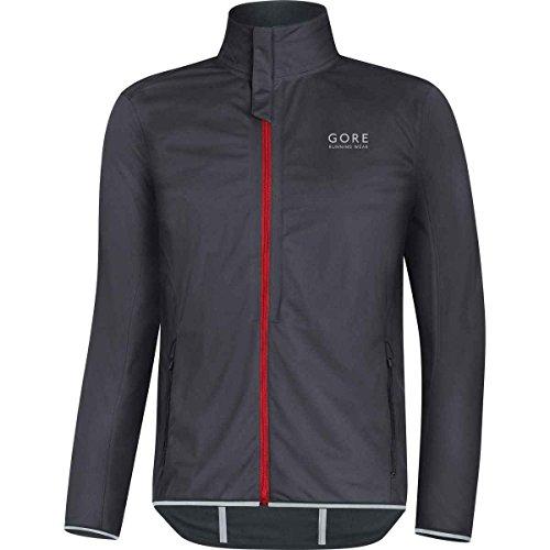 Windstopper Black Jacket (Gore Running Wear Essential Gore Windstopper Softshell Light Jacket - Men's Raven Brown/Red, XL)