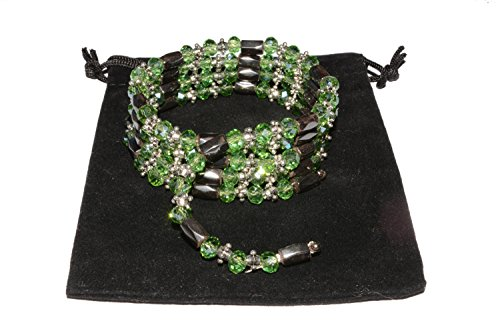 Magnetic Hematite Wrap Bracelets Necklaces, with Abacus Glass Beads and Tibetan Style Beads, 800~820mm (green) - Magnetic Hematite Wrap Bracelet