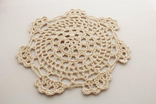 Handmade Medallion Crochet Lace Cotton Coasters/Doilies. 6 Inch Round. Beige Color. Set of 4. ()