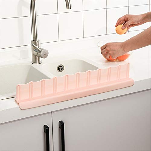 Yosoo Kitchen Sink Anti-Splash Guard Washing Dishes Vegetables Prevent Water Splash Board (Pink)