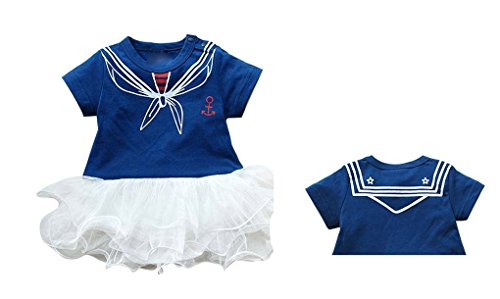 Dance Costumes For Kids Sailor (Rush Dance White & Navy Blue Anchor Popeye Uniform Sailor Tutu Romper (70 (0-6M)))