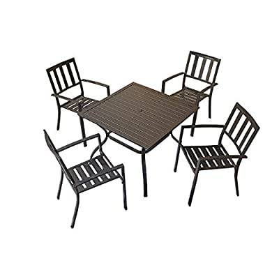 Top Space Patio Dining Set Outdoor Furniture Sets Metal Frame Slat Chairs and Bistro Square Table with Umbrella Hole 5 Piece for Garden Balcony Lawn, Black