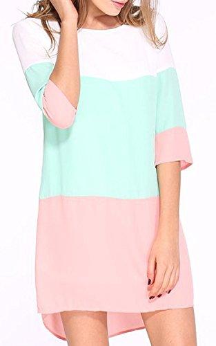 Partito In Casuale Donne Contrasto Mini Vestito Diritto Abito Pink Colore Slim Minetom qvHnxwz66