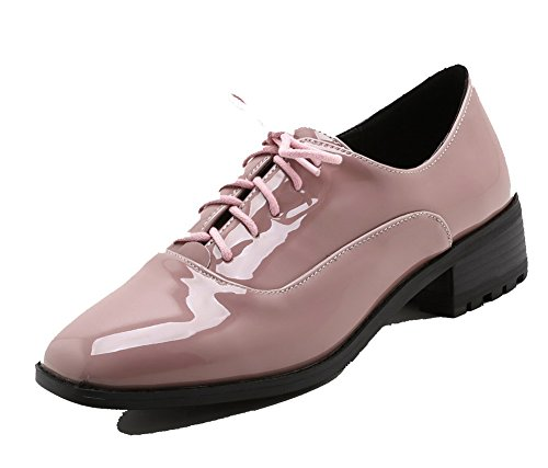 Up Pumps Microfibre Square Women's Heels Toe Shoes Solid WeenFashion Low Pink Lace Hq4xzW6E