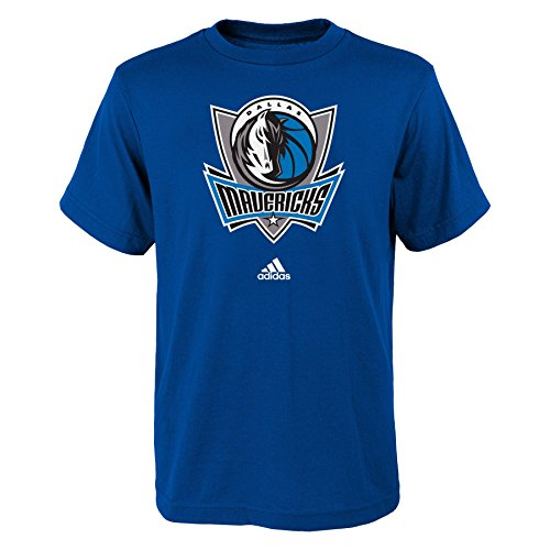 Adidas Dallas Mavericks T-shirt (NBA Dallas Mavericks Boys Youth Full Primary Logo Short Sleeve Tee, X-Large (18), Royal)