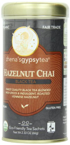 Zhena's Gypsy Chai Black Tea, Hazelnut, 1.54 Oz, 22 Count