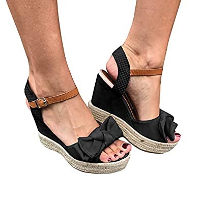 8c9377ae3db Womens Open Toe Bow Tie Espadrilles Platform Wedge Heel Sandals with Ankle  Strap Summer Shoes Black