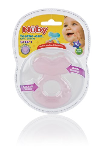 Nuby Silicone TeeThe-EEZ Teether with Bristles, Includes Hygienic Case, Colors May Vary