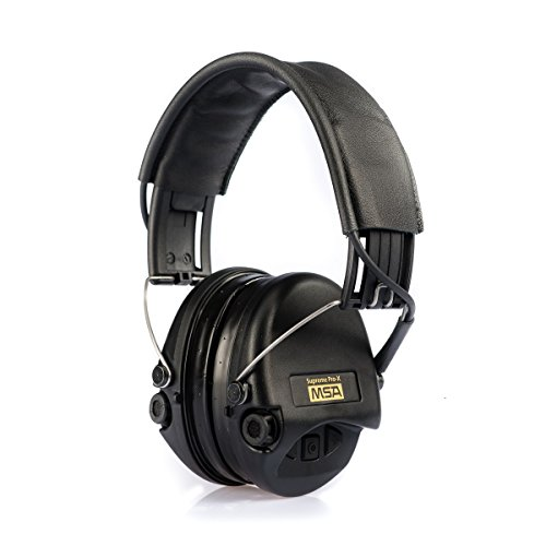 (MSA Sordin Supreme Pro X - Premium Edition - Electronic Earmuff with black leather band, black cups and gel seals fitted)