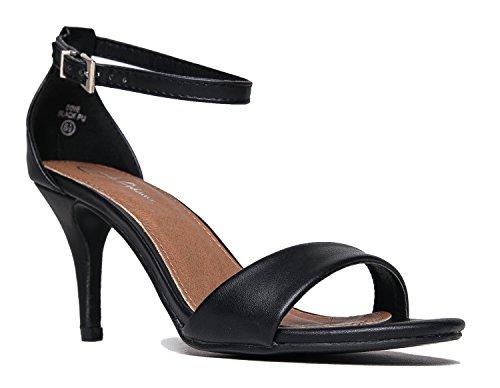 - Low Ankle Strap Work Heel, Black PU, 6.5 B(M) US